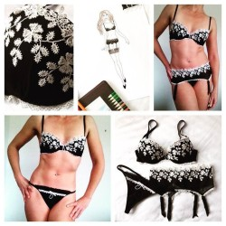 Collage showing concept to completion of this three-piece Lingerie set in black stretch tulle and ivory lace