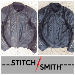 Before and after shots of M2R leather jacket.