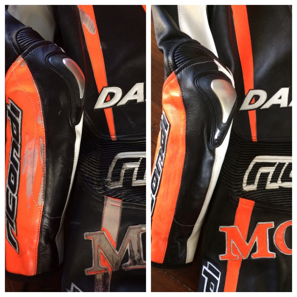 Before and after restoration on motorcycle leathers.