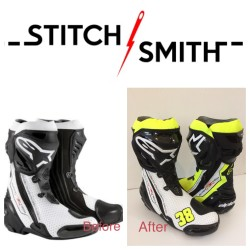Before and after of Alpinestar boots, painted to match a new set of leathers.