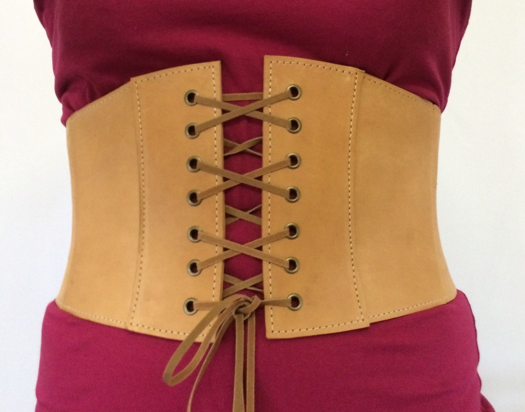 Custom, leather corset belt.