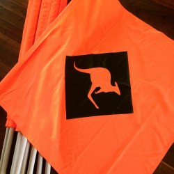 Custom kangaroo flags.