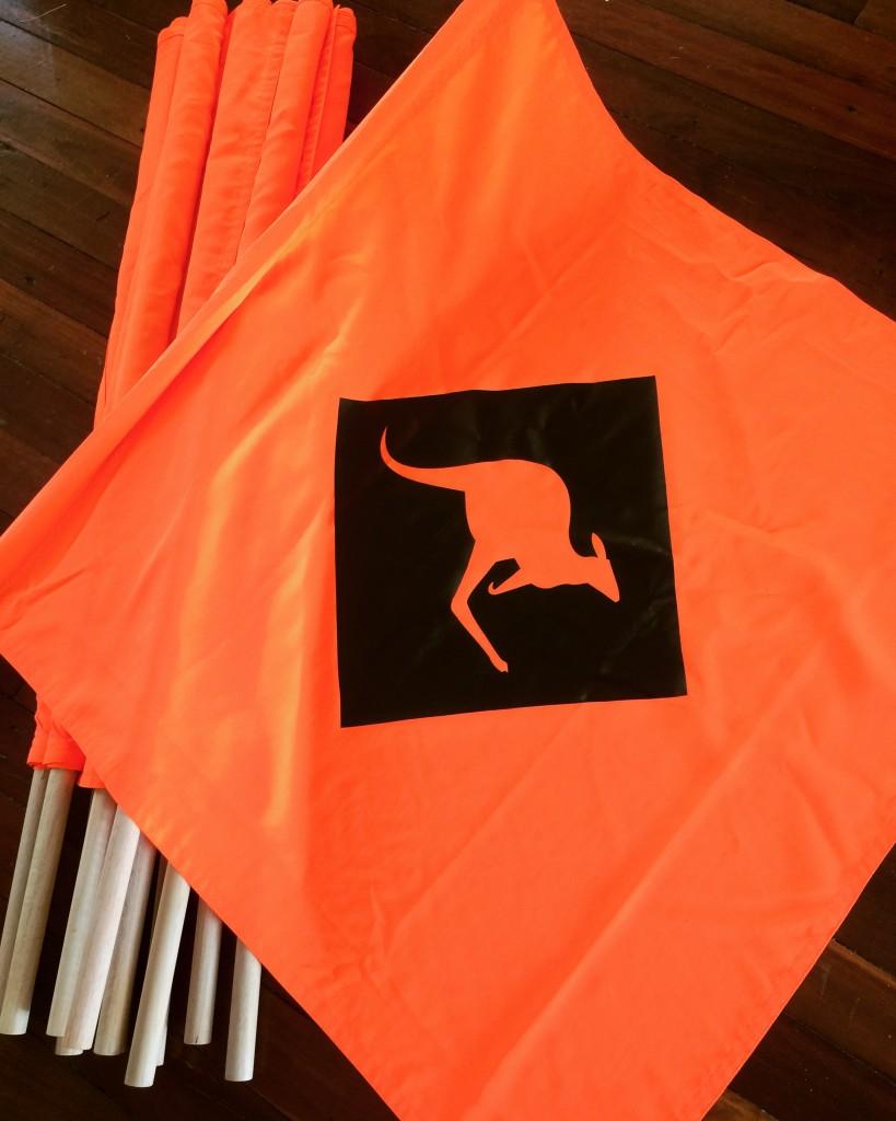 Custom kangaroo flags.